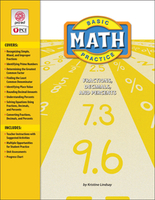 Image Basic Math Practice: Fractions Decimals and Percents